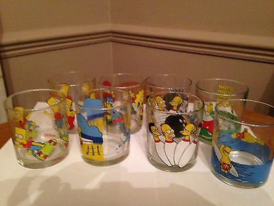 Set of 8 Collectable Nutella Glasses, The Simpsons, Been on Display Only