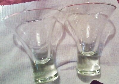 Two Bacardi Coco Rum Glasses Alcohol Advertising