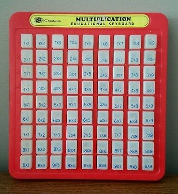 Chadwick Multiplication Eductational Keyboard 9x9 1986 Press and See Vintage Toy
