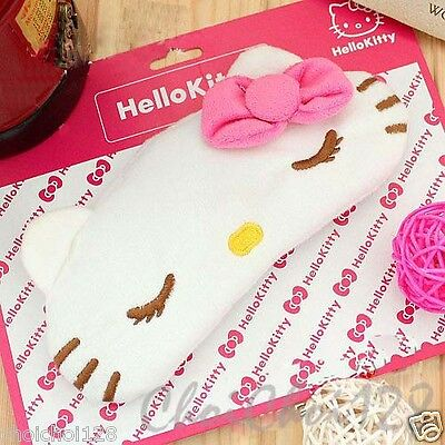 New Hello Kitty Pink Wrinkle Eye Bow Towel Frabic Sleeping Eye Mask HE17