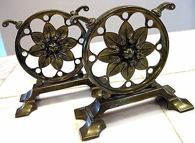 2 Antique Victorian Solid Brass Metal Vintage Boot Scraper Book Ends? Patina