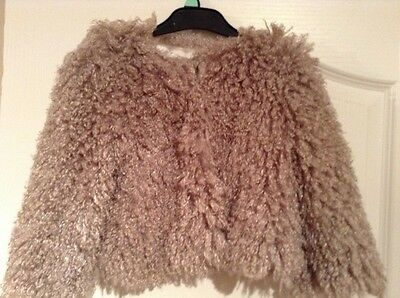 girls christmas party/occasion fauz fur fluffy jacket age 3 VGC