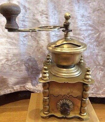 French antique coffee bean grinder brass and wood detail, very ornate .