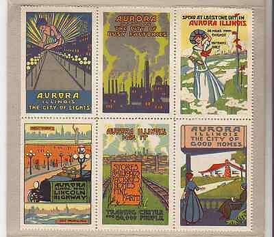 WWI Poster Stamps AURORA ILLINOIS, Block of 6 VF Rare NOS