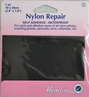 Hemline Self-Adhesive Nylon Repair Patch, 10cm x 20cm BLACK
