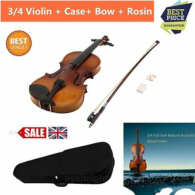 Size 3/4 Perfect Music Natural Acoustic Wood Violin Fiddle with Case Bow