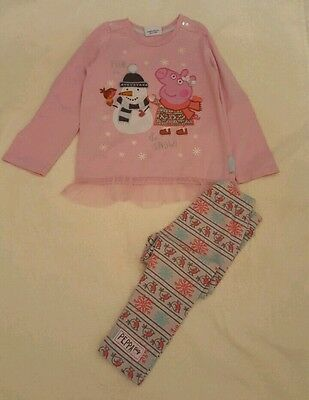 girls peppa pig outfit top and leggings age 2-3 years TU