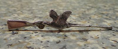 Nice Sterling Silver Rifle And Flying Pheasant Badge / Pin