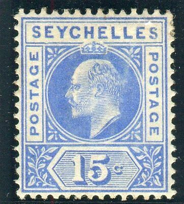 "SEYCHELLES-1903 15c Ultramarine ""DENTED FRAME""  fine mounted mint example Sg 50a"