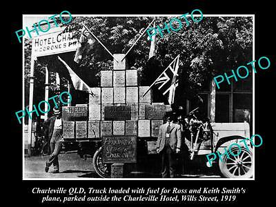 OLD LARGE HISTORIC PHOTO OF CHARLEVILLE QLD, SHELL FUEL BOXES ADVERTISING c1919