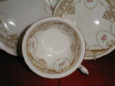 Shelley Late Foley Swags Trellis Pink Roses Tea Cup Trio Saucer Plate 8406 1910
