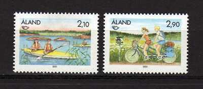 13816) ALAND 1991 MNH** Norden Tourism - Cycling - Canoe