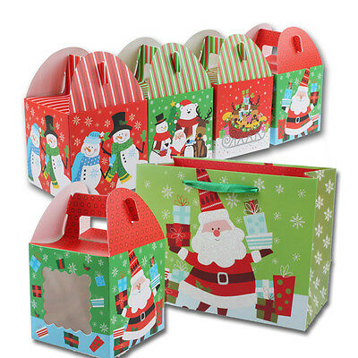 3 Pcs Cube Cartoon Christmas Santa Candy Box Kids Party Paper Gift Boxes