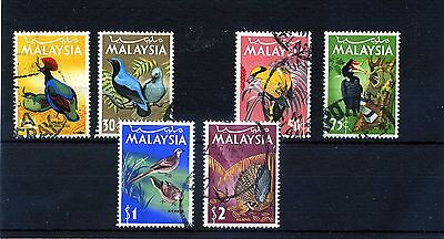 Malaysia.6 -- 1965 Used Birds Stamps On Stockcard