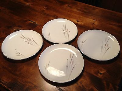 Fine China Of Japan Platinum Wheat 4 Dinner Plates