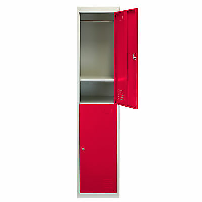 Metal Lockers 2 Doors Steel Staff Storage Lockable Gym Changing Room Red- 45cm D
