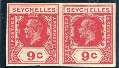 SEYCHELLES-1927 9c Red IMPERF PLATE PROOF LMM RPS CERTIFICATE