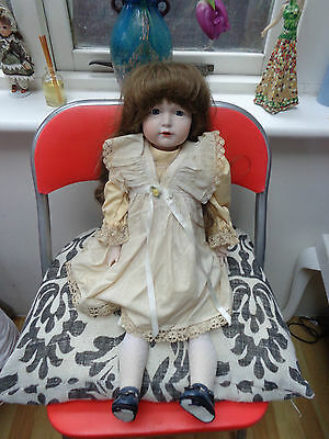 """Antique Bisque Doll Reproduction German Simon Halbig K & R 23"""" Articulated Body"""