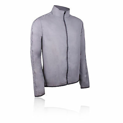 Higher State Hombre Gris Mangas Largas Completa Running Deporte Chaqueta Top