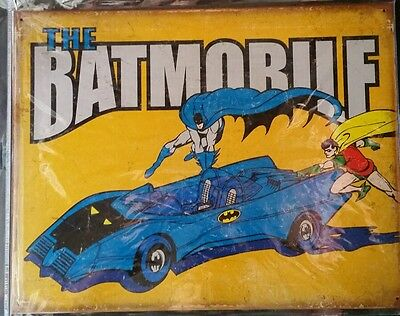 Batman and Robin with Bat mobile Retro new sign. Made in the USA.