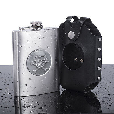 8oz Portable Skull Hip Flask Stainless Steel Wine Pot Flagon with Leather Sheath