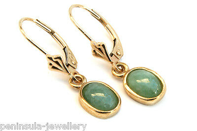 9ct Gold Jade LeverBack Earrings Gift Boxed Made in UK