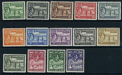 TURKS & CAICOS ISLANDS-1938-45  A mounted mint set Sg 194-208