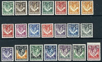 NORTHERN RHODESIA-1938-52  A lightly mounted mint set to 20/- Sg 25-45