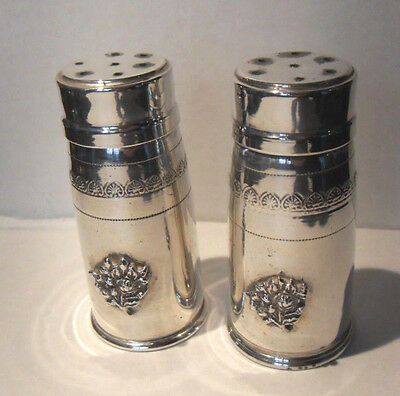 Solid Silver Cruet Condiment Set Salt And Pepper Tower Shakers