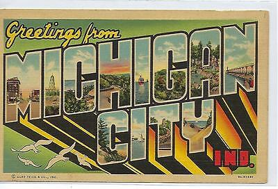 Greetings From Michigan City, Indiana - Vintage Postcard