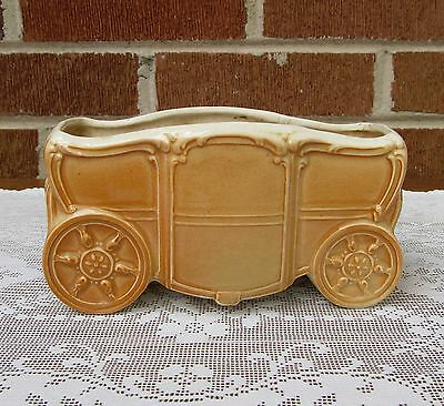 Vintage Royal Copley Coach Planter Crazing Detailed Embossing Caramel Brown