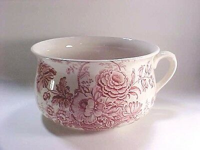 Royal Crownford Staffordshire England Ironstone Chamber Pot, Charlotte Red White