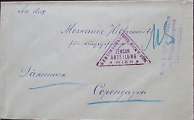 Austria. WW1 prisoner of war envelope sent from Theresienstadt to Copenhagen.