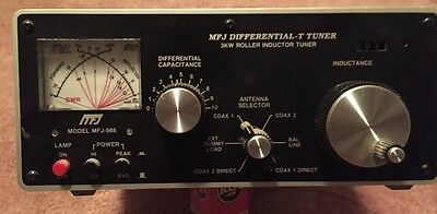 3kW  PEP  MFJ-986 DIFFERENTIAL-T 1.8-30 MHZ ROLLER INDUCTOR ANTENNA TUNER