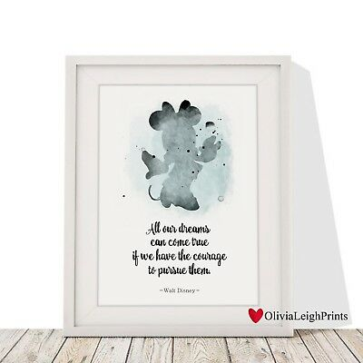 Disney Minnie Mouse Word Art Quote Print Watercolour-Wall Art-Nursery-Gift