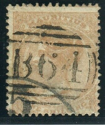 SEYCHELLES-1860-3 1/- Buff cancelled B64.  A fine used example Sg Z11