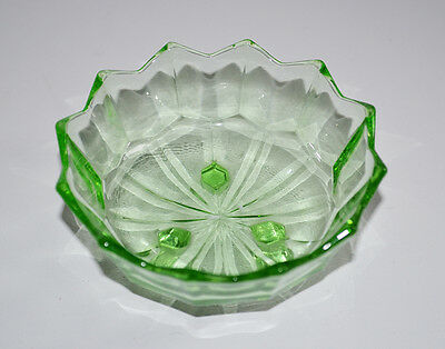 Green Glass Footed Trinket Dish