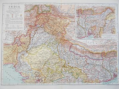 Map North Western India. 1910. Britannica Atlas. Kashmir. Punjab Original