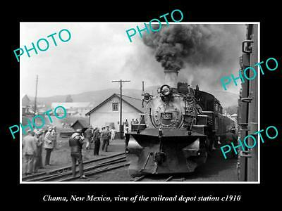 OLD LARGE HISTORIC PHOTO OF CHAMA NEW MEXICO, THE RAILROAD DEPOT STATION c1910
