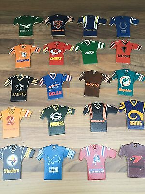 Set Of NFL American Football Mini T Shirts By Topps 1980's Key Rings