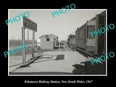OLD LARGE HISTORIC PHOTO OF POKATAROO NSW, VIEW OF THE RAILWAY STATION c1947