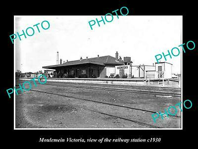Old Large Historic Photo Of Moulemein Victoria, The Railway Station 1930