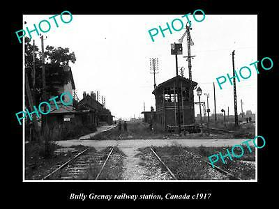 OLD LARGE HISTORIC PHOTO OF THE BULLY GRENAY RAILWAY STATION, CANADA c1917