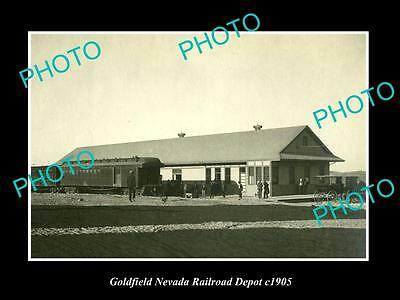 OLD LARGE HISTORIC PHOTO OF GOLDFIELD NEVADA, THE RAILROAD DEPOT STATION c1905