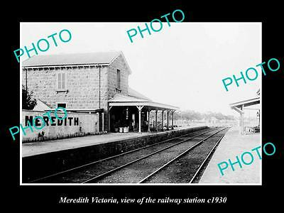 Old Large Historic Photo Of Meredith Victoria, The Railway Station 1930