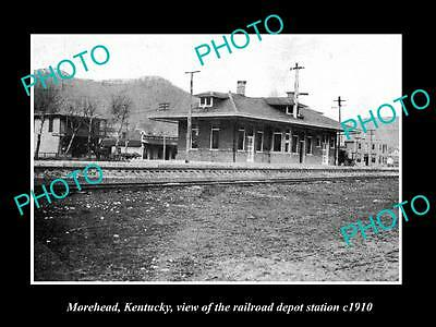 OLD LARGE HISTORIC PHOTO OF MOREHEAD KENTUCKY, THE RAILROAD DEPOT STATION c1910