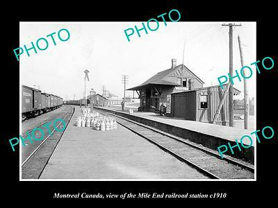 OLD LARGE HISTORIC PHOTO OF MONTREAL CANADA, THE MILE END RAIL STATION c1910