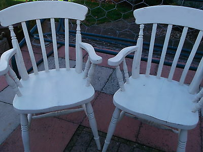 Vintage Pair Slat Back Victorian Style Painted Pine Shabby Chic Carver/Armchairs