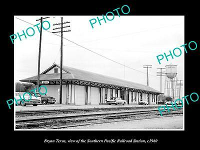 Old Large Historic Photo Of Bryan Texas, The Sp Railroad Depot Station 1960