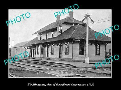 OLD LARGE HISTORIC PHOTO OF ELY MINNESOTA, THE RAILROAD DEPOT STATION c1920